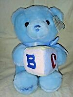 Aurora Baby Boy Blue Teddy Bear Plush Animal Musical Block Tag Alphabet Song