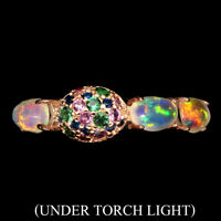 Unheated Oval Fire Opal Full Flash 6x4mm Cz 925 Sterling Silver Ring Size 7
