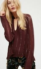 $168 NWT Free People 'Young Love' Embellished Blouse in Plum Large