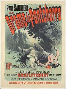 Original Vintage Poster Cheret Drame de Pontcharra Novel 1885
