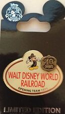 DISNEY CAST MICKEY TRAIN RAILROAD 40 YEAR NAME TAG OPENING TEAM PIN NEW on CARD