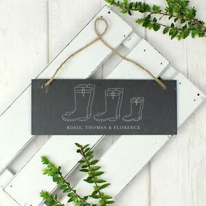 Personalised Engraved Welly Boot Family of Three Hanging Slate Plaque Sign