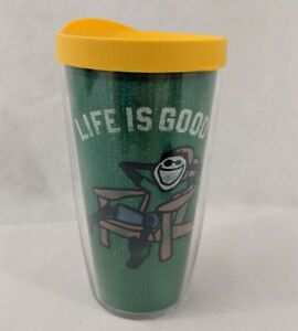 """Tervis Tumbler 16oz """"Life is Good"""" Green Cup Yellow Lid Insulated Cold/Hot"""