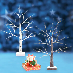 LED Birch Twig Tree White Brown Pre-Lit Christmas Celebration Mains & Battery
