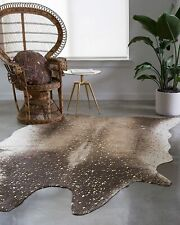 """Loloi II Bryce Collection Faux Cowhide Area Rug, 3'10"""" x 5', Mocha/Gold"""
