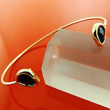 BANGLE BRACELET GENUINE REAL 18K YELLOW G/F GOLD SOLID BLACK ONYX CUFF DESIGN