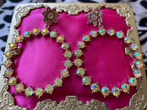 Betsey Johnson Bee Mine Spring Yellow Crystal AB Opal White Flower Hoop Earrings