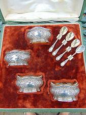 Antique French set 4 argent minerve 950 vermeil salières & Cuillères L COIGNET