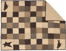 """Hand Quilted Country Patchwork Throw Star + Crow Applique 50"""" x 60"""" Kettle Grove"""