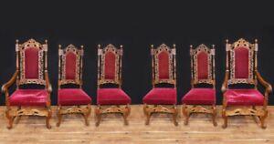 Set Antique Oak Dining Chairs - Farmhouse Kitchen Diners 1880