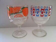 2 MID CENTURY  MODERN BAR GLASSES SCREWDRIVER ORANGE BLUE RED Vintage GOBLET