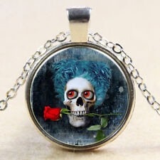 Glass Cabochon SKULL AND RED ROSE Pendant Necklace Mardi Gras Voodoo UK Seller
