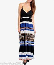 RX1 Sexy Black Blue Multicolor Maxi Beach Cocktail Casual Summer Dress Size L