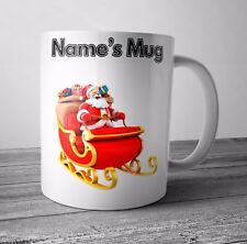 Personalised Mug Cup - Santa Sleigh - Christmas Gift / Secret Santa  - Any NAME