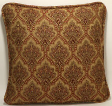 "2 18"" Tan and Light Burgundy Floral Medallion Pattern Designer Throw Pillows"
