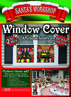 Christmas Santa's Workshop 2-Pc Elf Window Poster Covers North Pole Decoration