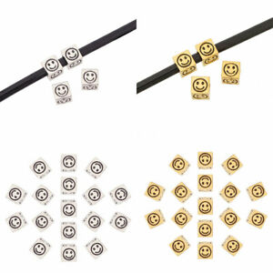 20 x Silver/Gold Tone Square Smile Face Spacer Beads 4 Sided 5mm Hole