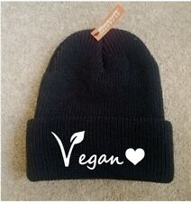Printed Beanie Vegan Lifestyle Health Hat Cap Knit Caps New Gift Love Heart