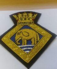 BLAZER BADGE - ROYAL NAVY - HMS GANGES  - RN BULLION GOLD WIRE