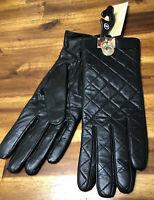 Michael Kors Gloves Quilted Leather Hamilton Lock w/Gold Hardware Size M $98 NWT