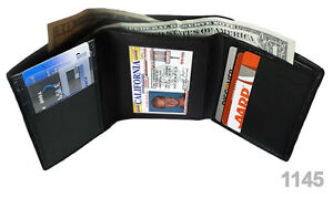 BLACK MEN'S GENUINE LEATHER TRIFOLD WALLET ID WINDOW 6+ CREDIT CARDS