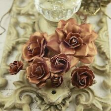 "BRAND NEW Prima ""Precious Metals Collection Chestnut"" 7 Paper Roses  547431"