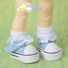 Doll Shoes Mary Jane Sneakers Denim Lt Blue for Lati Yellow Pukifee BJD Blythe