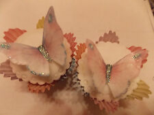 12 Precut Edible Pink & Lilac Glitter Butterflies for cakes and cupcake toppers