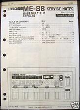 Boss ME-8B Bass Multiple Effects Service Manual, Schematics & Parts List Booklet