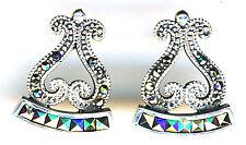 "925 Sterling Silver Marcasite Stud Bali Style Earrings Length 3/4"""