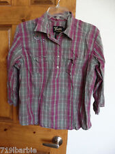 Dick Idle by Cabelas womens 3/4 sleeve half snap plaid pullover shirt size L Reg