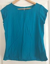 BRITISH INDIA WOMENS TOP BLOUSE RAYON TURQUOISE WORK PARTY SZ 3