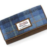 Harris Tweed Castlebay Blue Large Purse & Leather Trim New Line