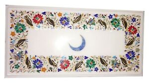 """12""""x18"""" Marble Top Coffee Table Multi Stone Floral & Owls Inlay Patio Decor W029"""
