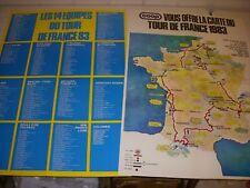 CYCLISME CARTE TOUR de FRANCE 1983 COOP au dos Les EQUIPES et la LISTE PARTANTS