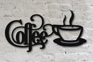 "Black Coffee Sign with Mug 14"" x 7"" - Metal Kitchen Bistro Wall Decor Aluminum"