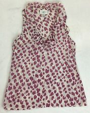 Ann Taylor LOFT Purple Cheetah Sleeveless Ruffle Silk Blend Shirt XS XSP Petite