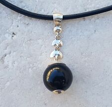 Gemstone Black Agate & Sterling Silver Pendant Choker Necklace With Leather Cord