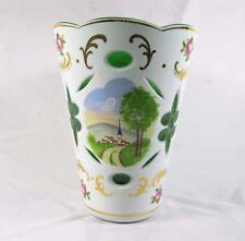 Cased art Glass White Overlay Cut to Green Vase Enamel Roses painted scenery