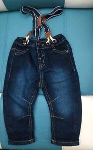 Matalan Baby Boy Denim Dude Jeans With Removable Braces  6-9 Months VGC