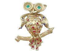 Vintage Ruby Sapphire Emerald & Diamond, 18k Yellow Gold 'Owl' Brooch 1960s