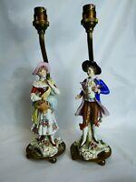 vintage sitzendorf figure pair table lamp conversion