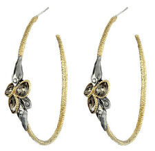 NWT Alexis Bittar Elements Rocky Gold Plated Ruthenium DAZZLING Hoop Earrings