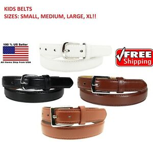 KIDS CHILDREN STITCHED LEATHER BELT Silver Belt Buckle Boys Sizes S M L XL