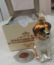 Glass Christmas Ornament St Bernard Dog Impuls Mouth Blown Hand Painted Poland