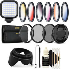 58MM Lens Filter Accessory Kit + LED Light for CANON Rebel T4 T3 T5 T1i XT XTi