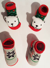 Boys or Girls Set of 2 Infant Christmas Booties: 0-12 Months