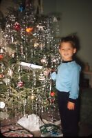 Christmas Morning Boy with Tree Presents 1958 50s Vintage 35mm Kodachrome Slide
