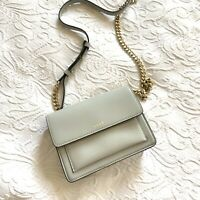 BN DKNY Bryant Park Saffiano Leather Small Flap Across Body Bag Light Grey