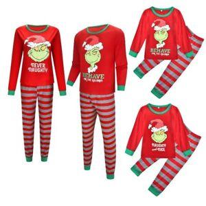 UK Family Matching Adult Kids Christmas Pyjamas The Grinch Pajamas PJs Sets